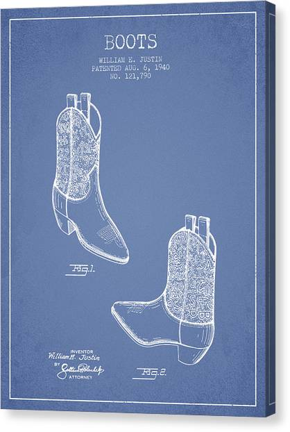 Cowboy Boots Canvas Print - Boots Patent From 1940 - Light Blue by Aged Pixel