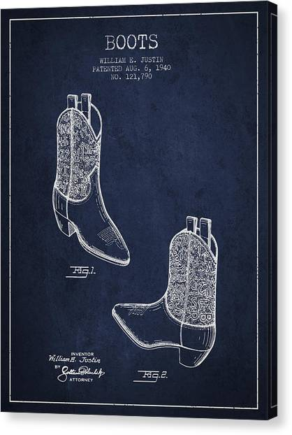 Cowboy Boots Canvas Print - Boots Patent From 1940 - Navy Blue by Aged Pixel