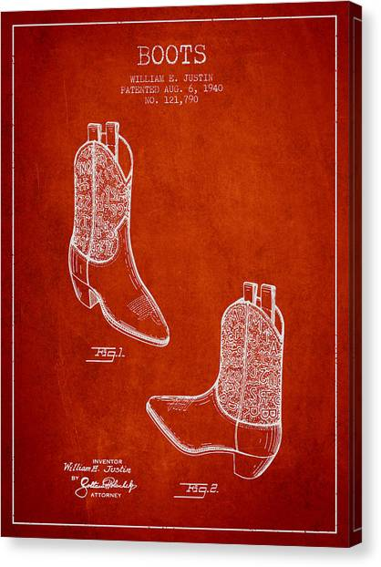Cowboy Boots Canvas Print - Boots Patent From 1940 - Red by Aged Pixel