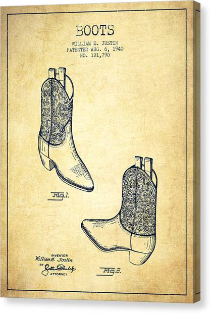 Cowboy Boots Canvas Print - Boots Patent From 1940 - Vintage by Aged Pixel