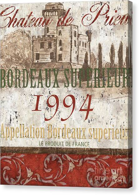Red Wine Canvas Print - Bordeaux Blanc Label 2 by Debbie DeWitt