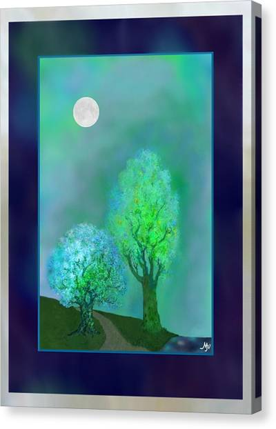 Big Sister Canvas Print - bordered DREAM TREES AT TWILIGHT by Mathilde Vhargon