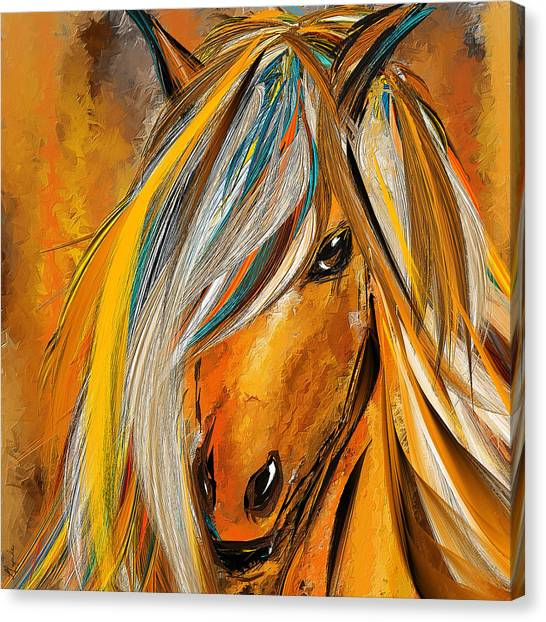 Bay Thoroughbred Canvas Print - Born Free-colorful Horse Paintings - Yellow Turquoise by Lourry Legarde