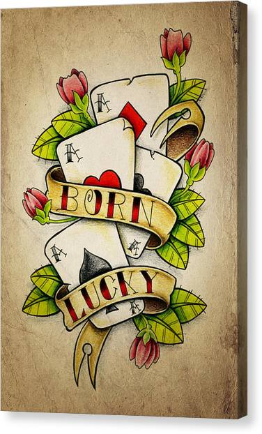 Tattoo Canvas Print - Born Lucky by Samuel Whitton