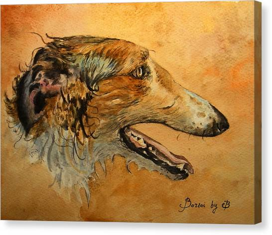 Watercolor Pet Portraits Canvas Print - Borzoi Dog by Juan  Bosco