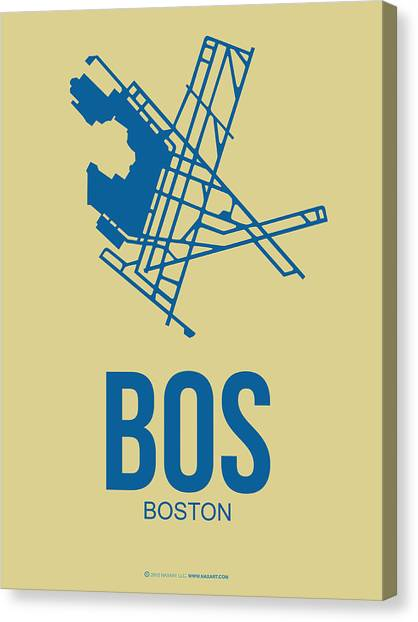 Boston Canvas Print - Bos Boston Airport Poster 3 by Naxart Studio
