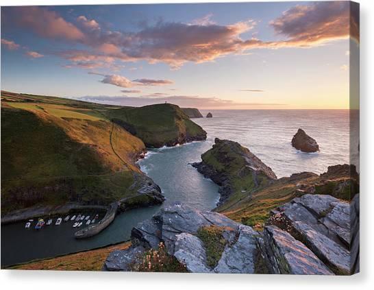 Cliff Burton Canvas Print - Boscastle Harbour At Sunset, Cornwall by Adam Burton / Robertharding
