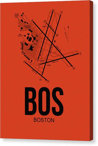 Boston Canvas Print - Boston Airport Poster 2 by Naxart Studio