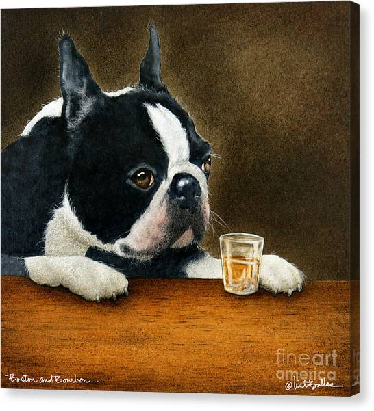 Boston Terriers Canvas Print - Boston And Bourbon... by Will Bullas