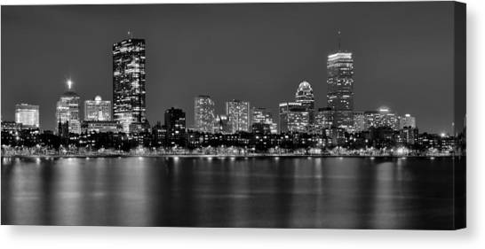 Boston harbor canvas print boston back bay skyline at night black and white bw panorama