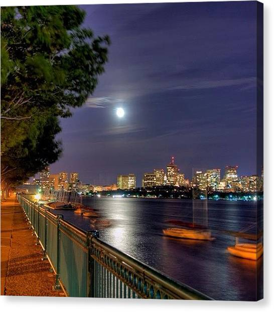 Massachusetts Canvas Print - #boston #bostonskyline #bostonnights by Joann Vitali