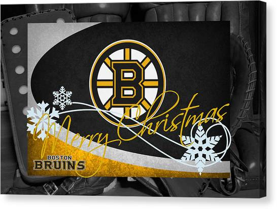 Boston Bruins Canvas Print - Boston Bruins Christmas by Joe Hamilton