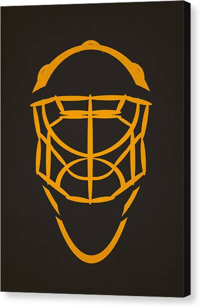 Boston Bruins Canvas Print - Boston Bruins Goalie Mask by Joe Hamilton