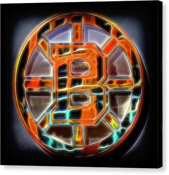 Bobby Orr Canvas Print - Boston Bruins Logo by Stephen Stookey