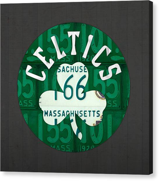 Basketball Teams Canvas Print - Boston Celtics Basketball Team Retro Logo Vintage Recycled Massachusetts License Plate Art by Design Turnpike