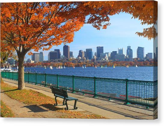 Boston Canvas Print - Boston Charles River In Autumn by John Burk