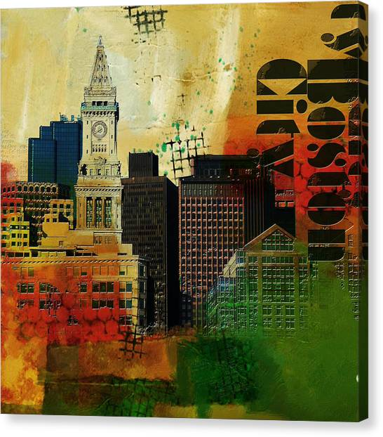 University Of Chicago Canvas Print - Boston City Collage 2 by Corporate Art Task Force