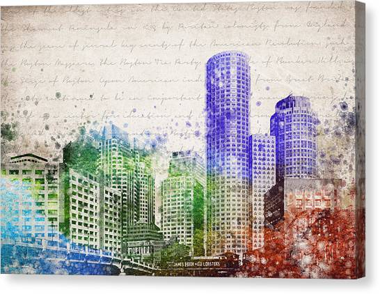 Fenway Park Canvas Print - Boston City Skyline by Aged Pixel