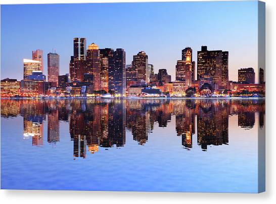 Boston City With Water Reflection At Canvas Print by Buzbuzzer