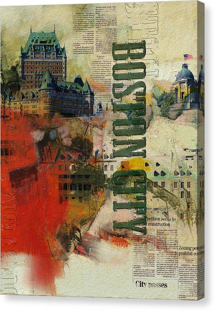 University Of Chicago Canvas Print - Boston Collage by Corporate Art Task Force