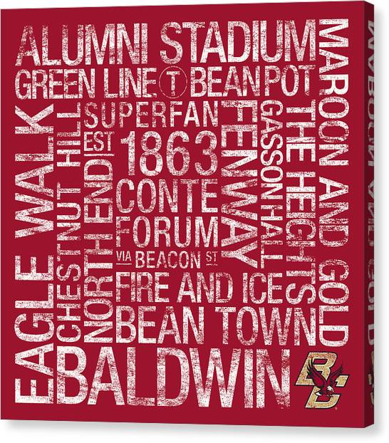Boston College College Colors Subway Art Canvas Print by Replay Photos