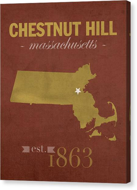 Boston College Canvas Print - Boston College Eagles Chestnut Hill Massachusetts College Town State Map Poster Series No 020 by Design Turnpike
