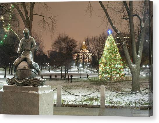 Boston Common Christmas Lights Canvas Print by Gretchen Lally