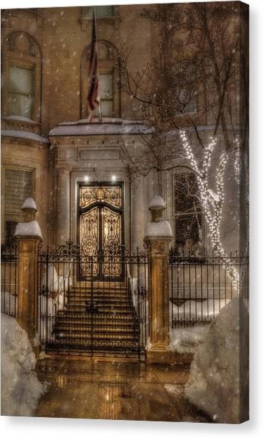 Boston Doorway In Snow - Back Bay Canvas Print