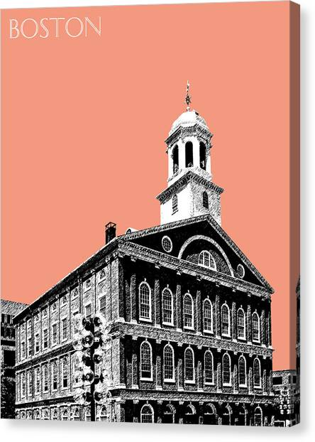 Pen Canvas Print - Boston Faneuil Hall - Salmon by DB Artist