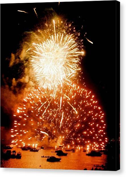 Boston Fireworks  A Burst On The Water Canvas Print by John B Poisson