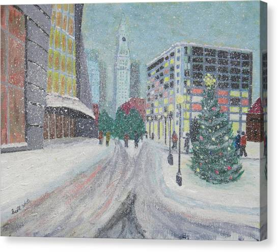 Boston First Snow Canvas Print