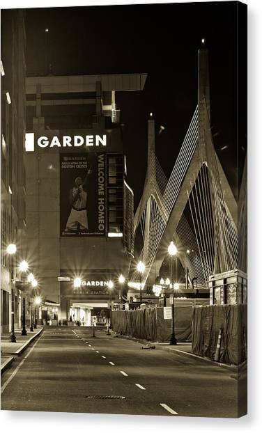 Boston Garder And Side Street Canvas Print