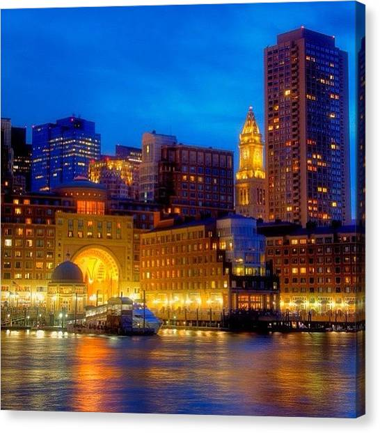 Massachusetts Canvas Print - Boston Harbor Sunset From Fan by Joann Vitali