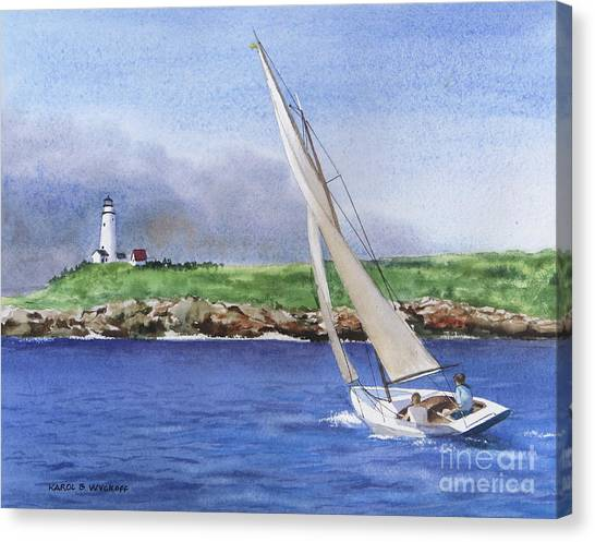 Boston Light Canvas Print by Karol Wyckoff
