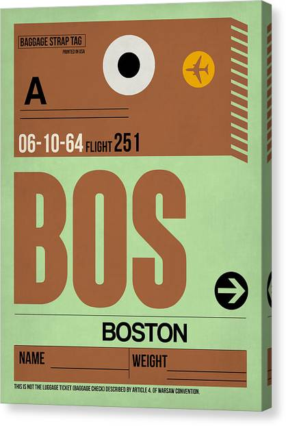 Boston Canvas Print - Boston Luggage Poster 1 by Naxart Studio