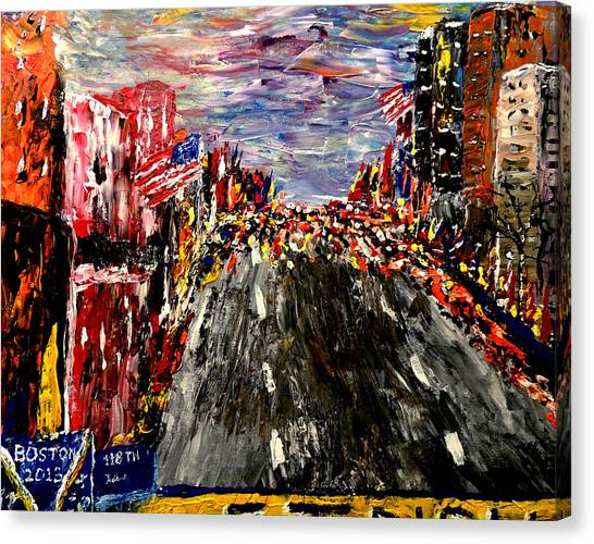 Finish Line Canvas Print - Boston Marathon  by Mark Moore