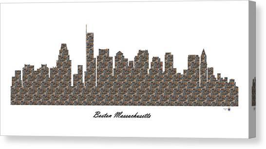 Boston Massachusetts 3d Stone Wall Skyline Canvas Print