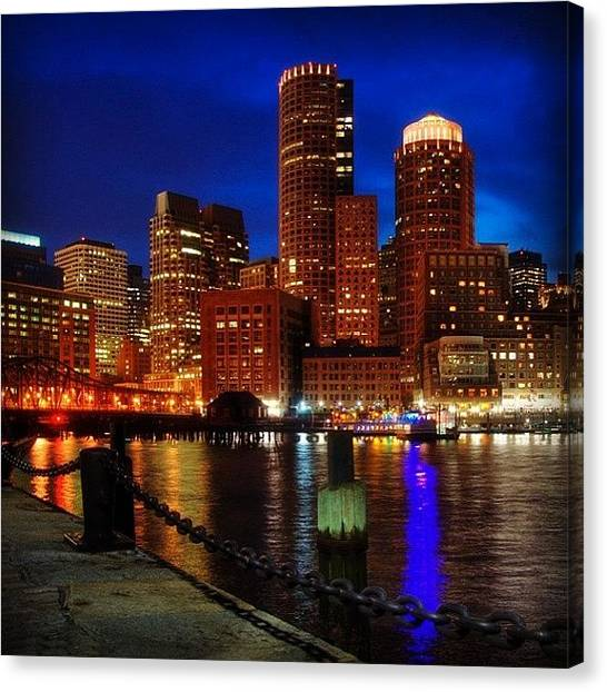 Massachusetts Canvas Print - Boston Night Skyline From Fan Pier by Joann Vitali