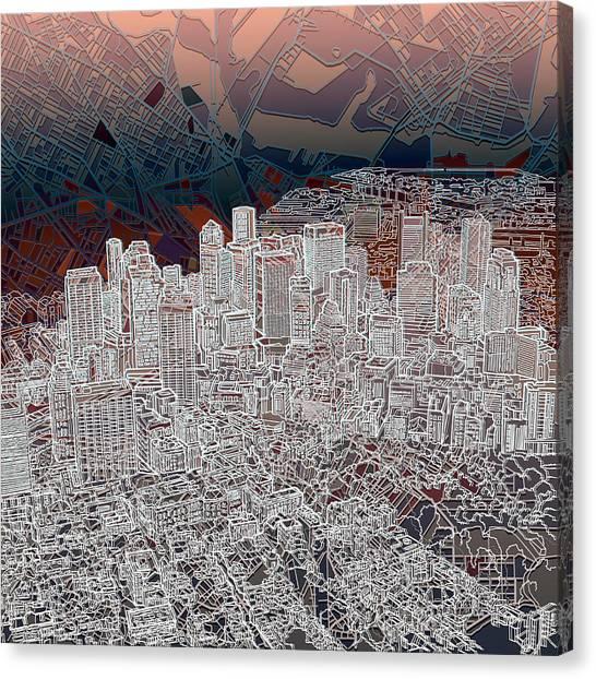 Boston Skyline Canvas Print - Boston Panorama Abstract 3 by Bekim Art