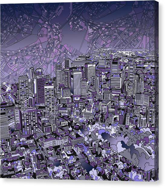 Boston Skyline Canvas Print - Boston Panorama Purple by Bekim Art
