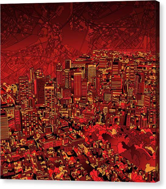 Boston Skyline Canvas Print - Boston Panorama Red by Bekim Art