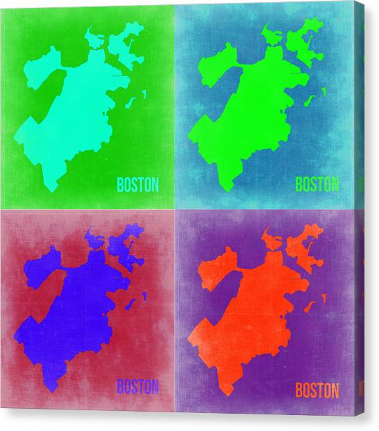 Boston Canvas Print - Boston Pop Art Map 2 by Naxart Studio