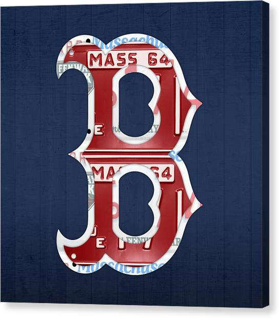 Boston Red Sox Canvas Print - Boston Red Sox Logo Letter B Baseball Team Vintage License Plate Art by Design Turnpike