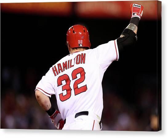 Josh Hamilton Canvas Print - Boston Red Sox V Los Angeles Angels Of by Stephen Dunn