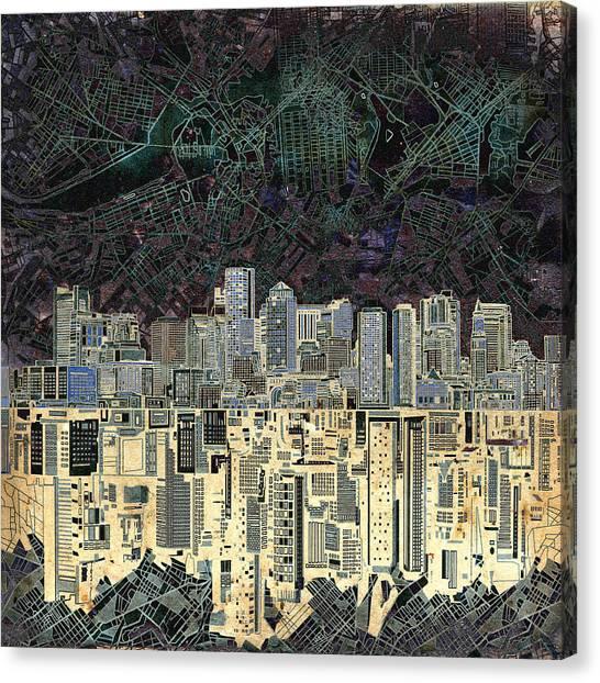 Boston Skyline Canvas Print - Boston Skyline Abstract Antique by Bekim Art