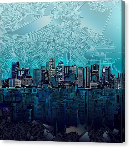 Boston Skyline Abstract Blue Canvas Print