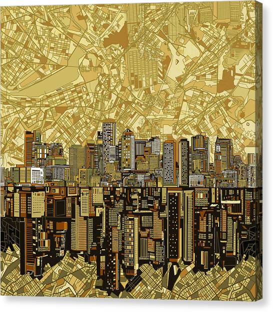 Boston Skyline Canvas Print - Boston Skyline Abstract Brown by Bekim Art