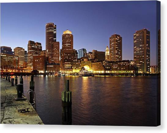 Boston Skyline And Fan Pier Canvas Print
