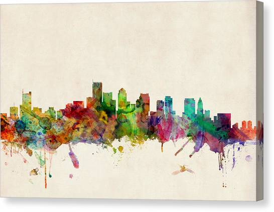 Boston Canvas Print - Boston Skyline by Michael Tompsett