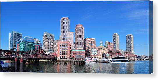 Boston Skyline Over Water Canvas Print